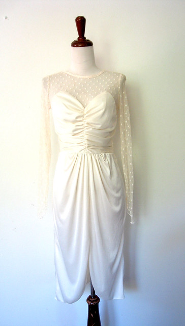 Dotted Illusion Lace Cream Dress, vintage 80s