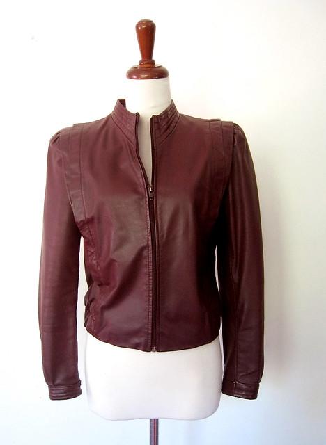 Burgundy Leather Jacket, vintage 70s