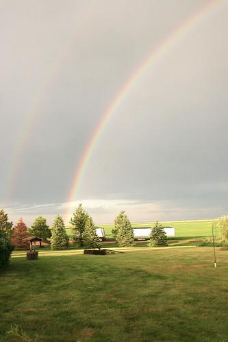 As we reach the farm rainbows appear in the sky