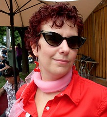 Pink Scarf (Georgie_grrl) Tags: pink red toronto ontario me smile scarf cafe moi shades coffeehouse bysara cherryearrings rockabillyrock catseyeframes mydarkpinkside samsungd760 modsvsrockersevent oakwoodanddavenport