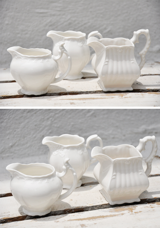 Cream Petite Pitchers by Over The Moon Vintage Rentals