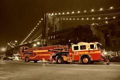 Ladder 118 with Brooklyn Bridge (thoth1618) Tags: nyc newyorkcity ny newyork brooklyn brooklynbridge fdny tiller 118 photooftheday brooklynny brooklynusa ladder118 firedepartmentofnewyork