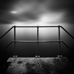 Andy (Andy Brown (mrbuk1)) Tags: longexposure cloud seascape water modern fence dark square concrete graffiti mono blackwhite glow moody contemporary platform surreal symmetry ethereal scaffold minimalism posts railings whatsinaname nd110 leefilters