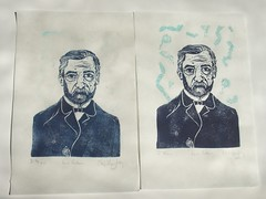 two thermochromic Pasteur prints AFTER (the.minouette) Tags: portrait printmaking temperature linoleum bacteria historyofscience louispasteur thermochromic minouette