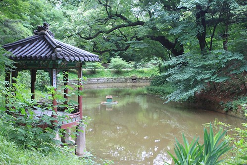 South Korea map in a pond-size at Secret Garden, Changdeokgung PAlace, Seoul South Korea