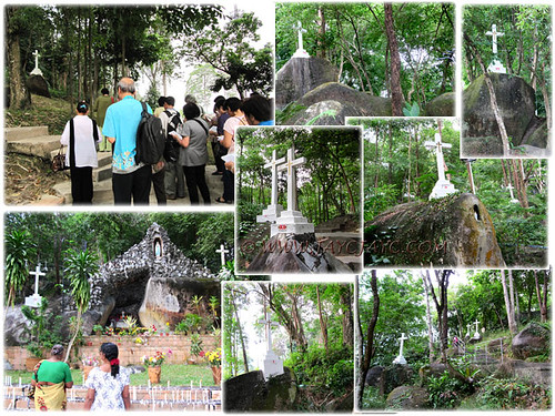 Collage: the Stations of the Cross, along hilly terrain behind Shrine of St Anne