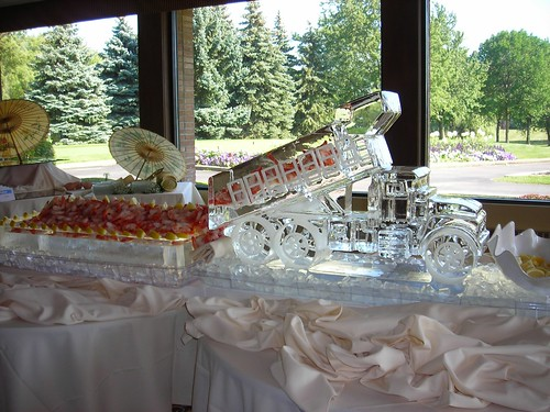 Dump Truck with Shrimp ice sculpture