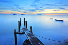 sunset pier (leungchopan) Tags: ocean china wood travel blue light sunset red sea summer wallpaper vacation sky people cloud sun lake abstract holland reflection beach nature water beautiful beauty night s