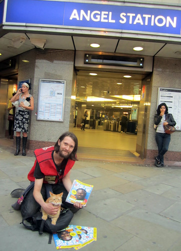 James & Bob the Big Issue / Angel Tube Cat - 25th August 2011 by Annie Mole