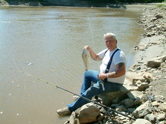 Fishing at Tower Rock 2:  Jerry Caught a Drum (whitebuffalobk) Tags: fishing missouri mississippiriver towerrock