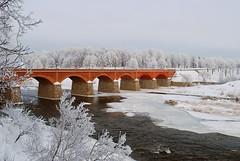 2 (Bargais) Tags: bridge winter red white snow nature river landscape latvia venta latvija kuldiga kuldīga