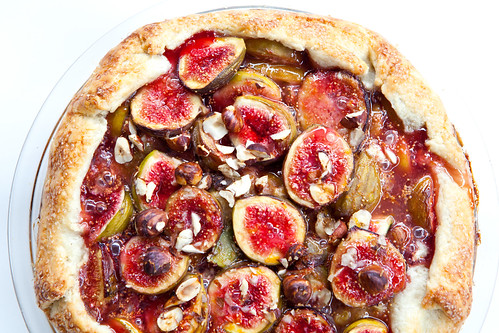 Homemade fig hazelnut crostata, close up and bubbly