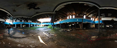 Panoramic image inside Dixie Square (RickDrew) Tags: rot abandoned mall shopping graffiti illinois rust decay il indoors harvey mold shoppingcenter cavein abandonned urbex dixiesquare