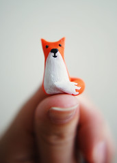 Mini Fox (SOMETHiNG MONUMENTAL) Tags: sculpture orange nikon handmade painted clay tiny fox thumb d60 somethingmonumental mandycrandell