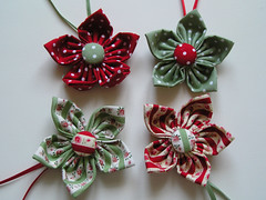 4  fabric flowers. (Bunny Bosworth) Tags: christmas flower festive petals origami holidays handmade sewing decoration craft fabric button stitched tsumami kanzashi