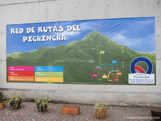 Trail map for hiking Pichincha Volcano
