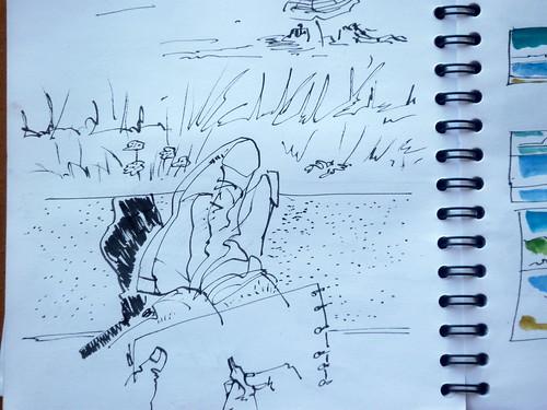 dibujando en la playa, Barreiros