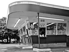 Local drive-thru () Tags: food classic sign vintage photo washington cool neon state pacific northwest image good picture fast diner retro drivein hamburgers nostalgia photograph fries ave freeze memory drivethru nostalgic times arrow googie 6th frisko milkshakes