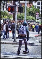 Union Square Skateborder (Rob Goldstein - hopelessly behind) Tags: sanfrancisco lighting shadow urban abstract texture colors fashion digital photoshop portraits francisco artistic awesome avatar attitude coloring skateboard photomerge dreamy layers processed tone abstracted fullcolor photoprocessing colorgrading saturaton photoprocess photomorphing