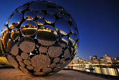 Sphere of Light, Brisbane #1 (fredfunk05) Tags: city blue reflection glass skyline night reflections river lights nikon dusk australia brisbane southbank bluehour brisbanecity d60 brisbaneskyline brisbanedusk