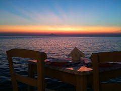Mount Athos from Myrina (Limnos) (sergiopigo) Tags: sunset table restaurant tramonto mount explore greece grecia tavolo ristorante athos limnos oros agios lemnos myrina mirina abigfave oltusfotos