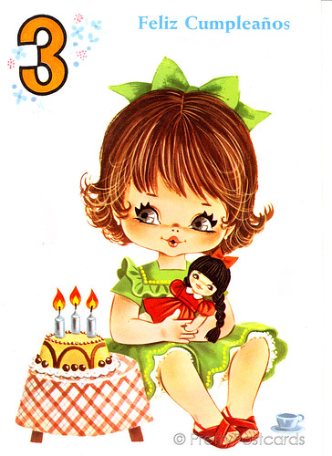 Vintage Birthday Card For A Three Year Old Big Eyed Girl A Photo