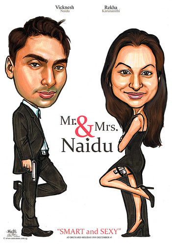 Mr & Mrs Naidu wedding couple caricatures - A4