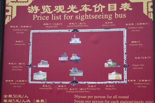 Sighseeing bus takes you around Xi'an wall in China