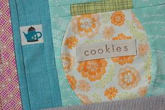 completed kitchen block- detail (Spotted Stone Studio {Krista}) Tags: paper recipe cookbook cookie free bee quilting jar block piece curved