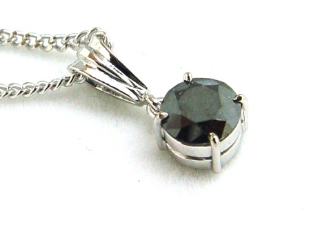 Black Diamond Pendant Set in White Gold