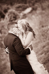 """""""and I love it when in the middle of our kiss I can feel you smiling"""" (leaves.on.the.wind) Tags: ca wedding blackandwhite love sepia canon kiss outdoor bigsur first marriage 7d moment"""