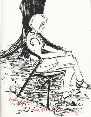 Lisbon, Cecelia sketching