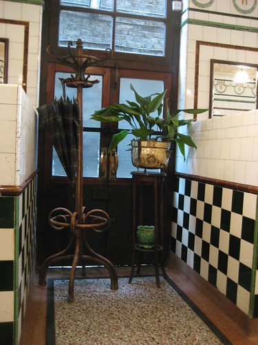 Coat stand and aspidistra in the pie & mash shop