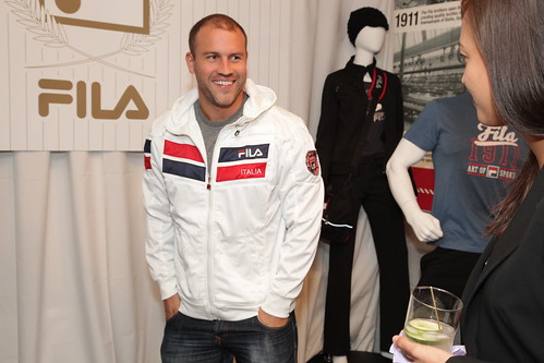 Lee Rumohr in the new Fila hoodie he picked out at the Fila Suite