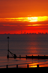 Selsey sunset {Explored} (Chris Beesley) Tags: sunset sea summer orange sun beach yellow seaside westsussex sunny explore selsey explored