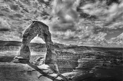 Delicate Arch Black and White (BHagen) Tags: summer blackandwhite bw hot utah blackwhite sand nikon sandstone desert arches moab archesnationalpark delicatearch d90