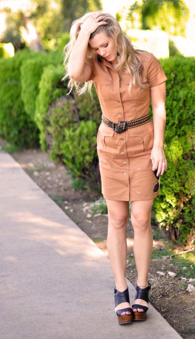 military inspired kakhi  dress with vintage belt and wedges