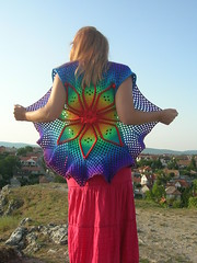 LAXMI, The Doily Style Vest (babukatorium) Tags: pink blue red orange flower color green art lana wool fashion yellow vintage star sweater rainbow funny colorful warm purple handmade turquoise teal oneofakind pastel crochet moda violet style mandala shades retro shade gradient romantic hippie ribbon vest psychedelic fiore arcobaleno bohemian doily multicolor shrug octagon waistcoat gilet whimsical darkblue maglia bolero haken hkeln croch ganchillo colete chaleco fuxia uncinetto fattoamano  tii horgolt uvgreen babukatorium