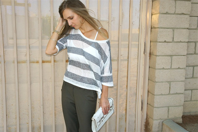Gray stripe top with olive pants