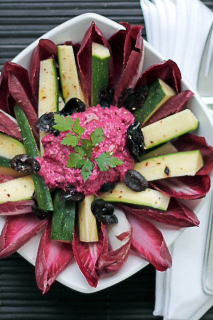 Courgettes, Red Chicory and Beetroot Cream