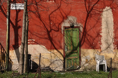 Benkő utca (sonofsteppe) Tags: life street door old city shadow urban detail building tree green art sign wall architecture fence photography 50mm daylight wooden still wire chair mural scenery closed hungary mood branch exterior outdoor budapest atmosphere nobody scene architectural plastic explore environment series weathered visual exploration streetname ruined frontview fragment bough reddish streetplate bole milieu wallscape patinated sonofsteppe pusztafia zugló streetplatesofbudapest urbanlifeoftrees alsórákos benkőutca
