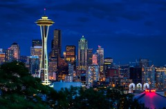 Seattle Kerry Park Blue Hour (Fresnatic) Tags: seattle blue summer pacificnorthwest spaceneedle kerrypark washingtonstate hdr queenannehill downtownseattle seattleskyline photomatix canonrebelxsi seattlehdr fresnatic