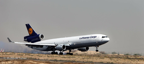 Lufthansa Cargo landing at Sharjah Airport