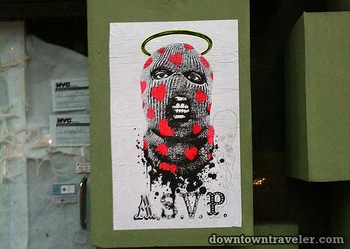 ASVP balaclava street art poster in NYC