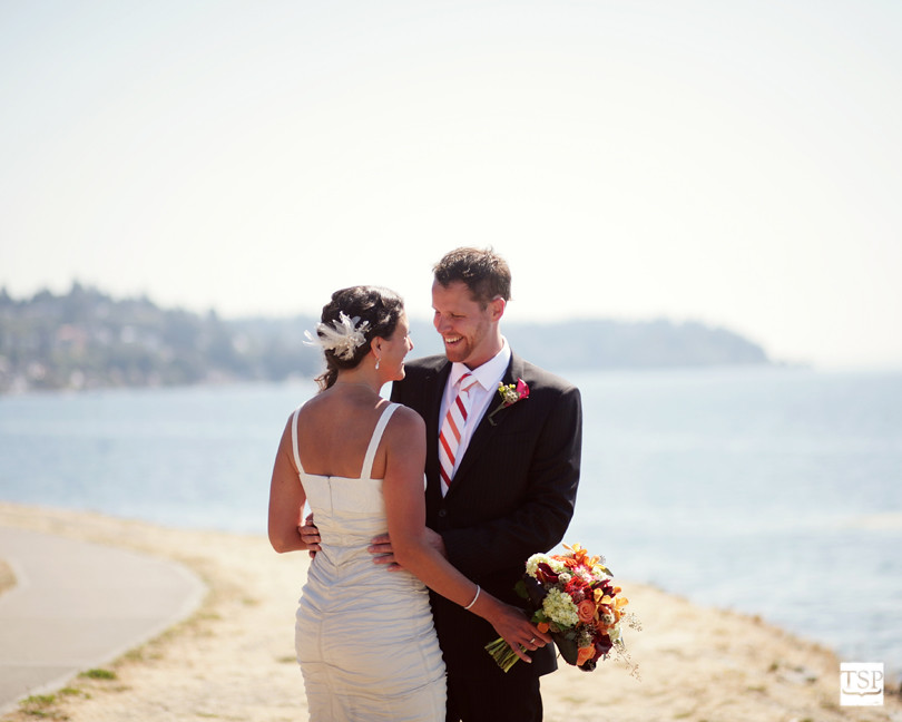 Alki Beach Seattle Wedding Bride and Groom