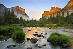 Gates of the Valley (David Shield Photography) Tags: california sunset color reflection nature water landscape nationalpark nikon glow view explore yosemite yosemitenationalpark elcapitan valleyview mercedriver eastersierras explored masterclasselite