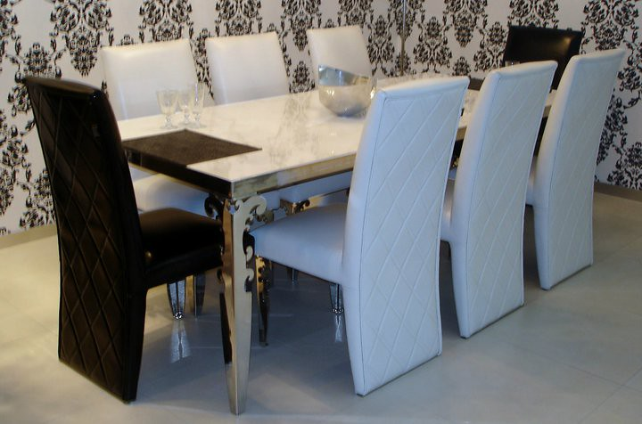 ELEGANT EXCELSIOR DINING TABLE FOR 8 PEOPLE WITH GENUINE MARBLE TOP