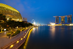 The Marina Bay (Shutter wide shut) Tags: nightphotography travel blue light sky reflection tourism water architecture marina buildings twilight singapore waterfront skyscrapers dusk cityscapes nightlight esplanade sands touristspot mbs starbursts merlionpark singaporeflyer shutterwideshut richardamar