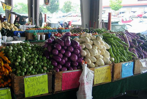 A wide variety of eggplant sold at the North Carolina Farmers Market.  The North Carolina State Farmers Market is one of the local markets covered by USDA Market News.  Photo by Justin Henry.