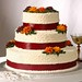 Burgundy and gold mums make up this warm design.  Add a touch of burgundy ribbon to finish this beautiful cake.